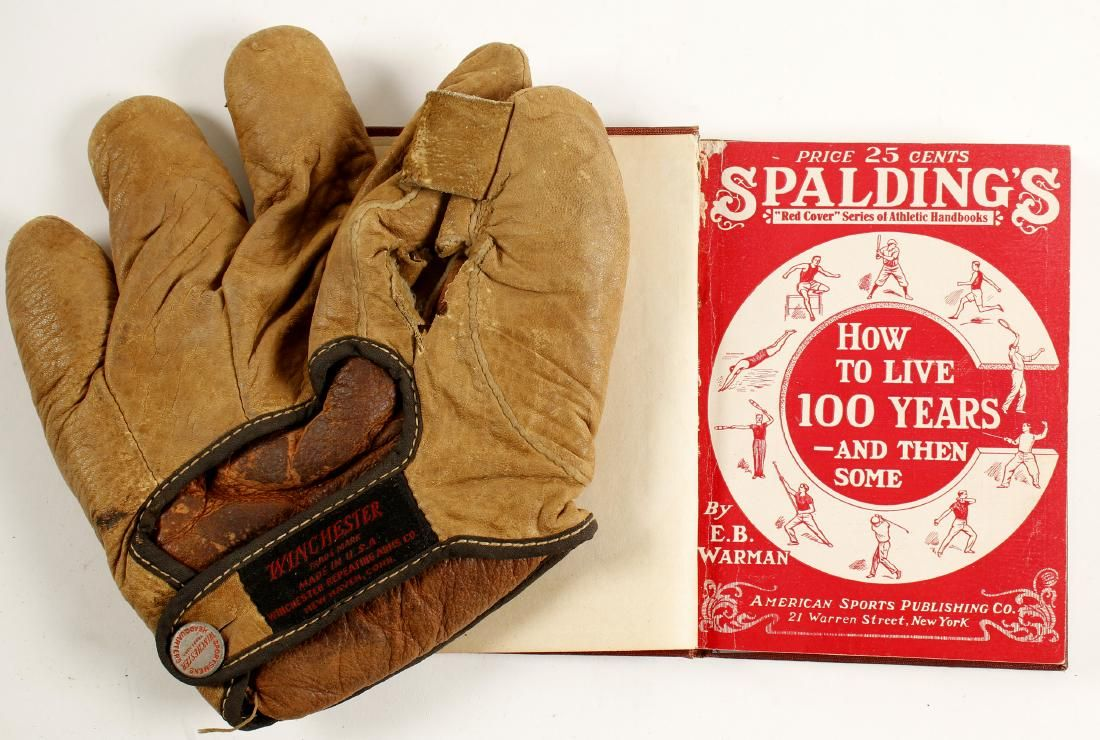 Vintage Baseball Glove and Spaulding Book (88223)