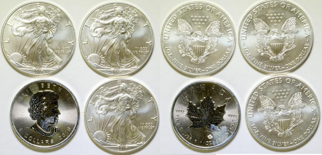 Silver Dollar Coins / USA & Canada /  4 Items