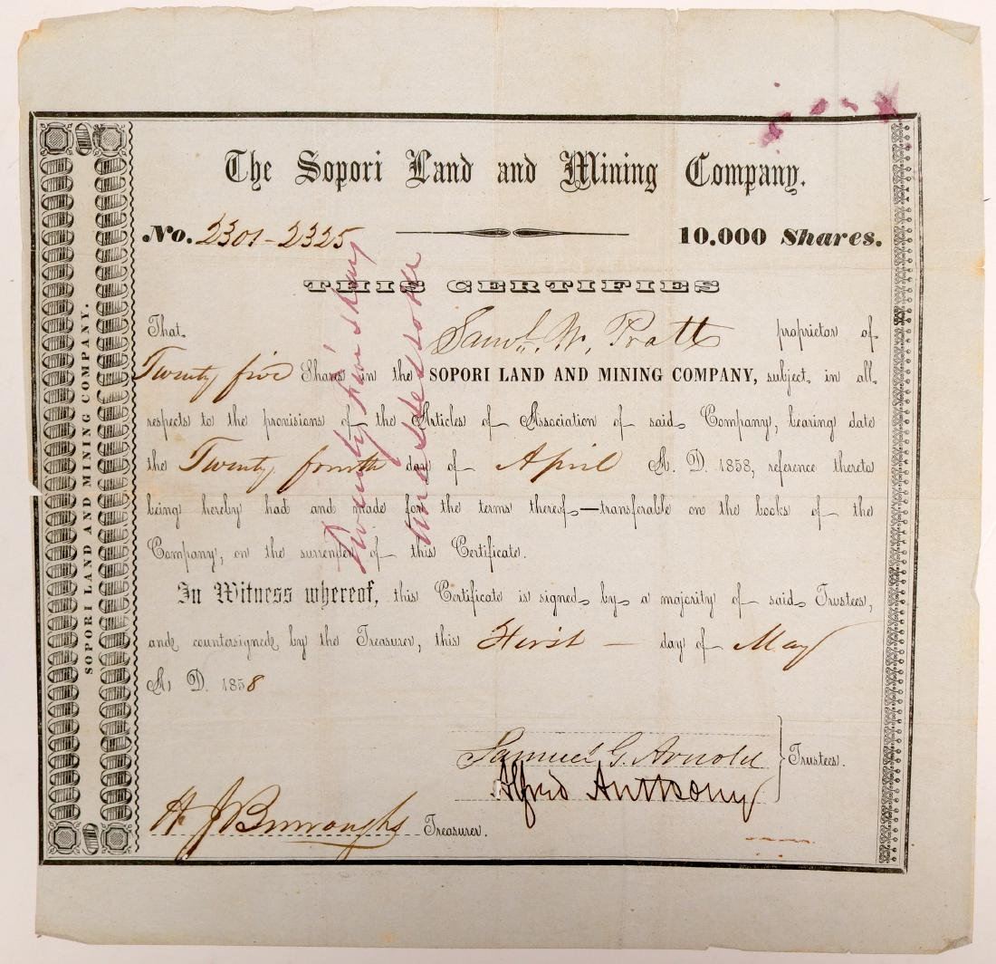 Sopori Land and Mining Company Stock Certificate