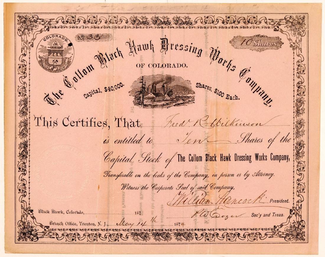 Collom Black Hawk Dressing Works Co. Stock Certificate