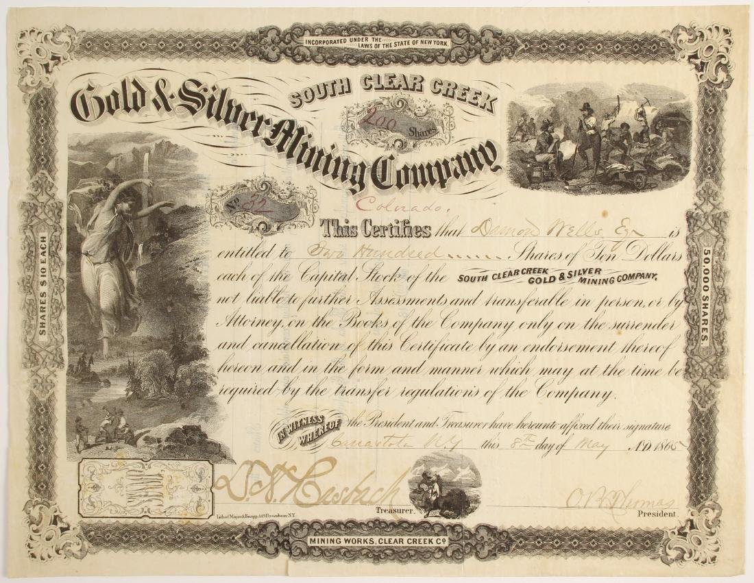 South Clear Creek Gold & Silver Mining Company Stock