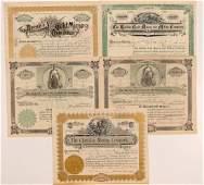 Five Cripple Creek Mining Stock Certificates (107181)