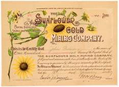 Sunflower Gold Mining Company Stock Certificate