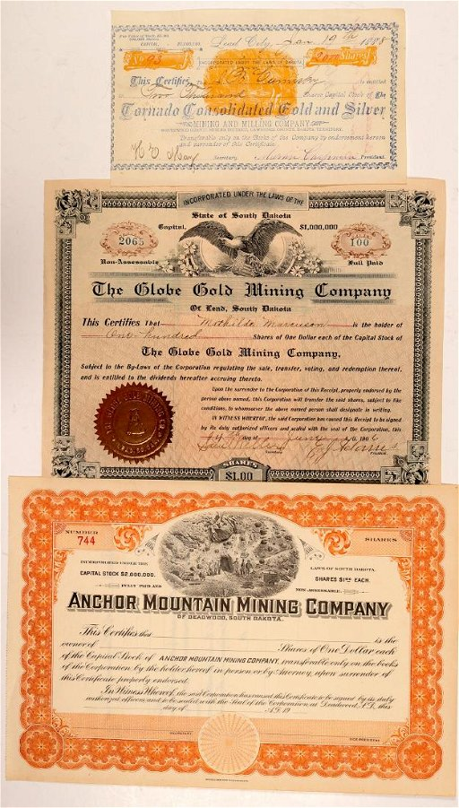 South Dakota Mining Stock Certs  (3) (108152) - Jul 14, 2019