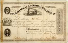 Greenville  Columbia Railroad Stock   83241
