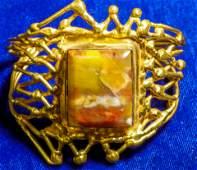 Vintage Gold Plated Filigree Custom Agate Cuff Bracelet