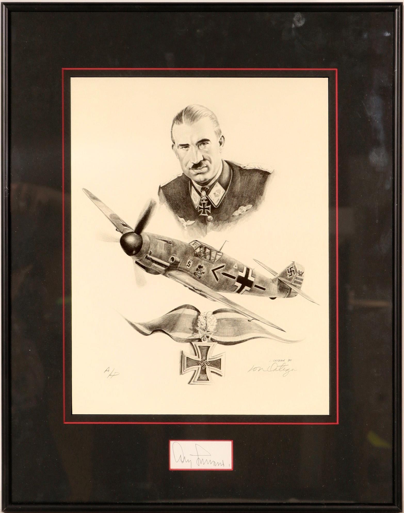 Lt. General Adolf Galland Drawing by Lonnie Ortega