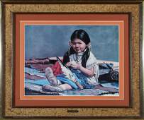 """Framed """"Little Indian Girl"""" Print by McMahan 87647"""