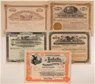 Five 1890s Cripple Creek Mining Stock Certificates