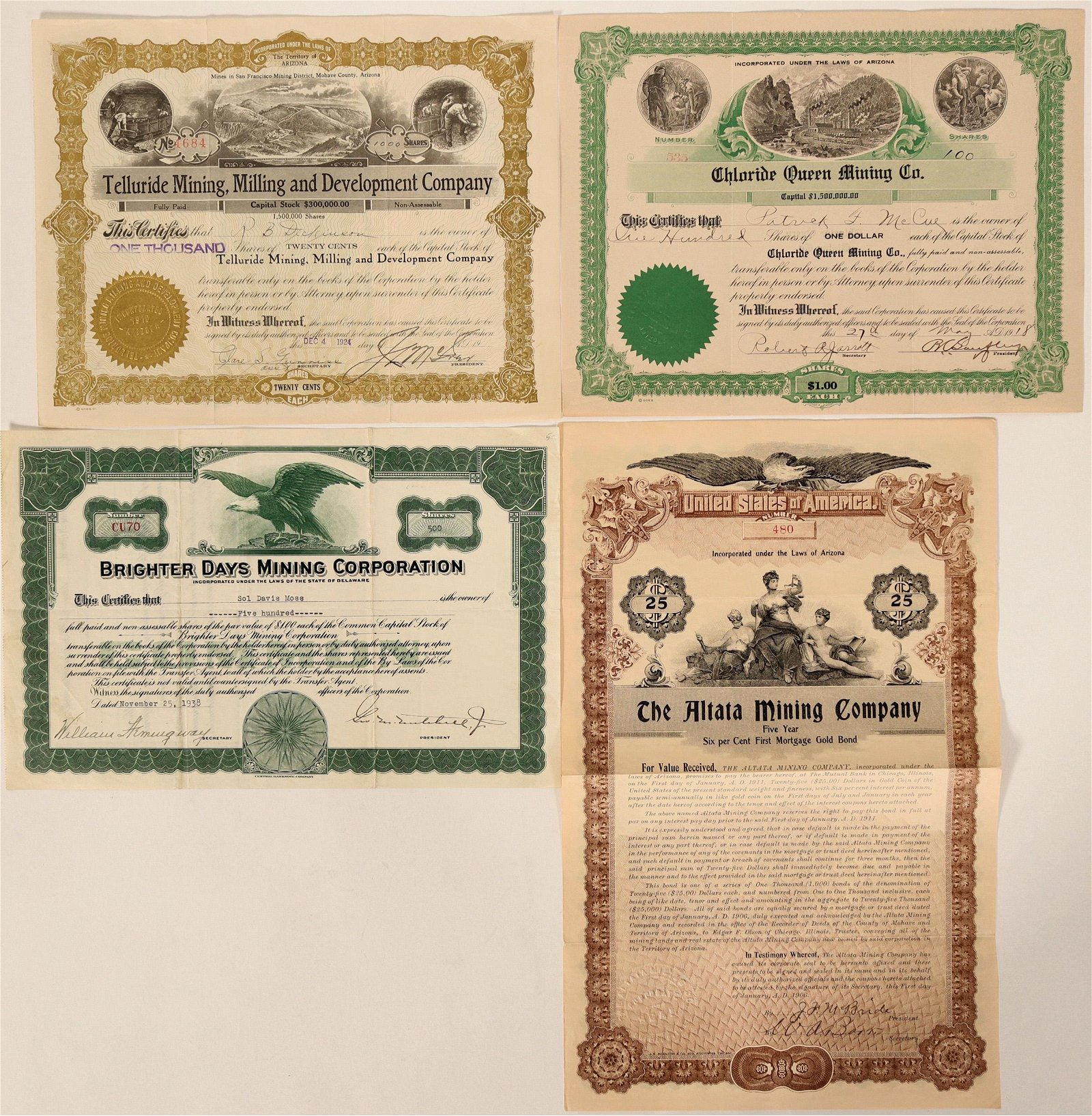 Four Chloride, Mohave County Stock Certificates