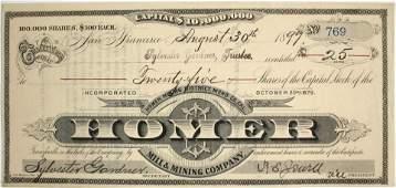 Homer Mill & Mining Stock Certificate #64026