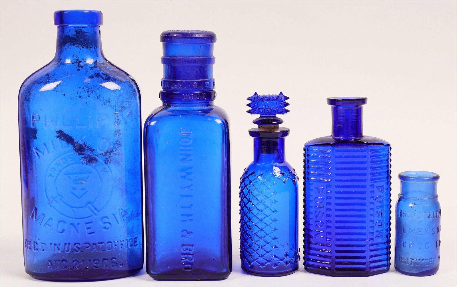 Cobalt Blue Antique Bottle Group  (114272)