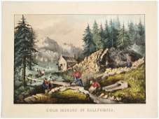 Currier  Ives Handcolored Print Gold Mining in