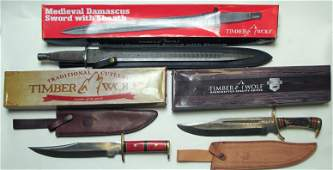 Timber Wolf Bowie Knives and Damascus sword (60515)