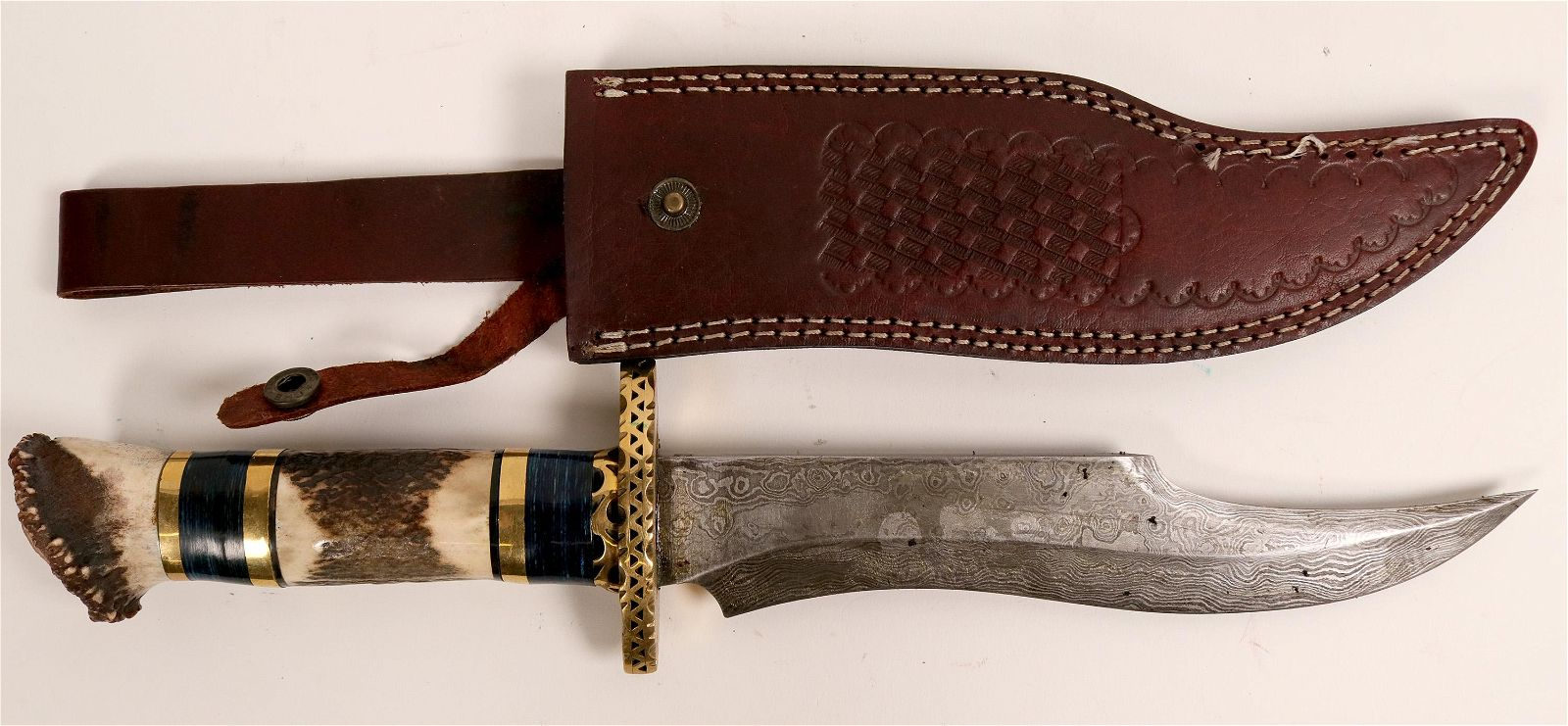 Large Damascus Bowie knife with sheath (114437)