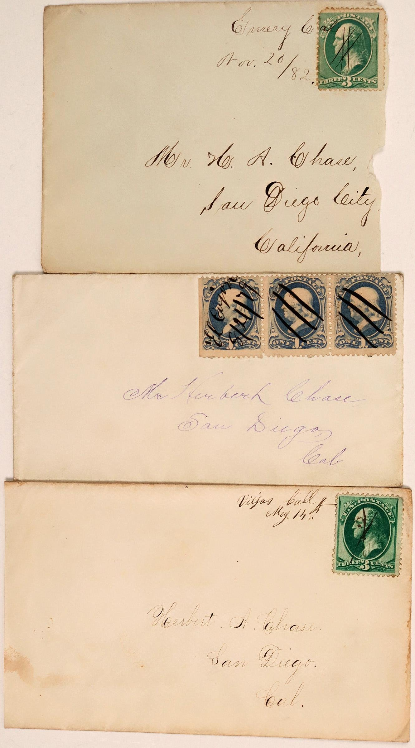 Three San Diego County Covers with Rare MS Cancels