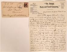 Clean Letter & Cover Dwight, Dakota Territory  (115652)