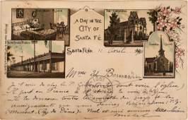 Pioneer Postcard Litho Santa Fe to France   116366