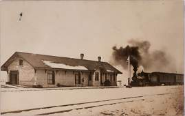 Real Photo Postcard, RR Depot in Heyburn Idaho-