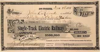 Pressley Single-Track Electric Railway Co Stock, San