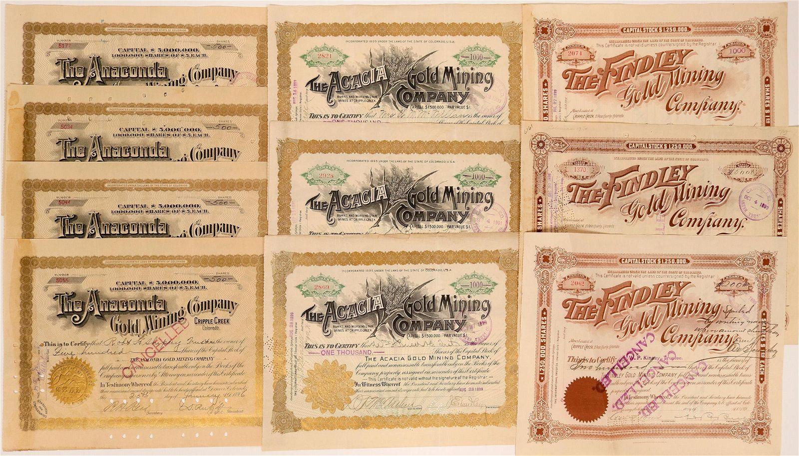 Cripple Creek, Colo., Mining Stock Certificates