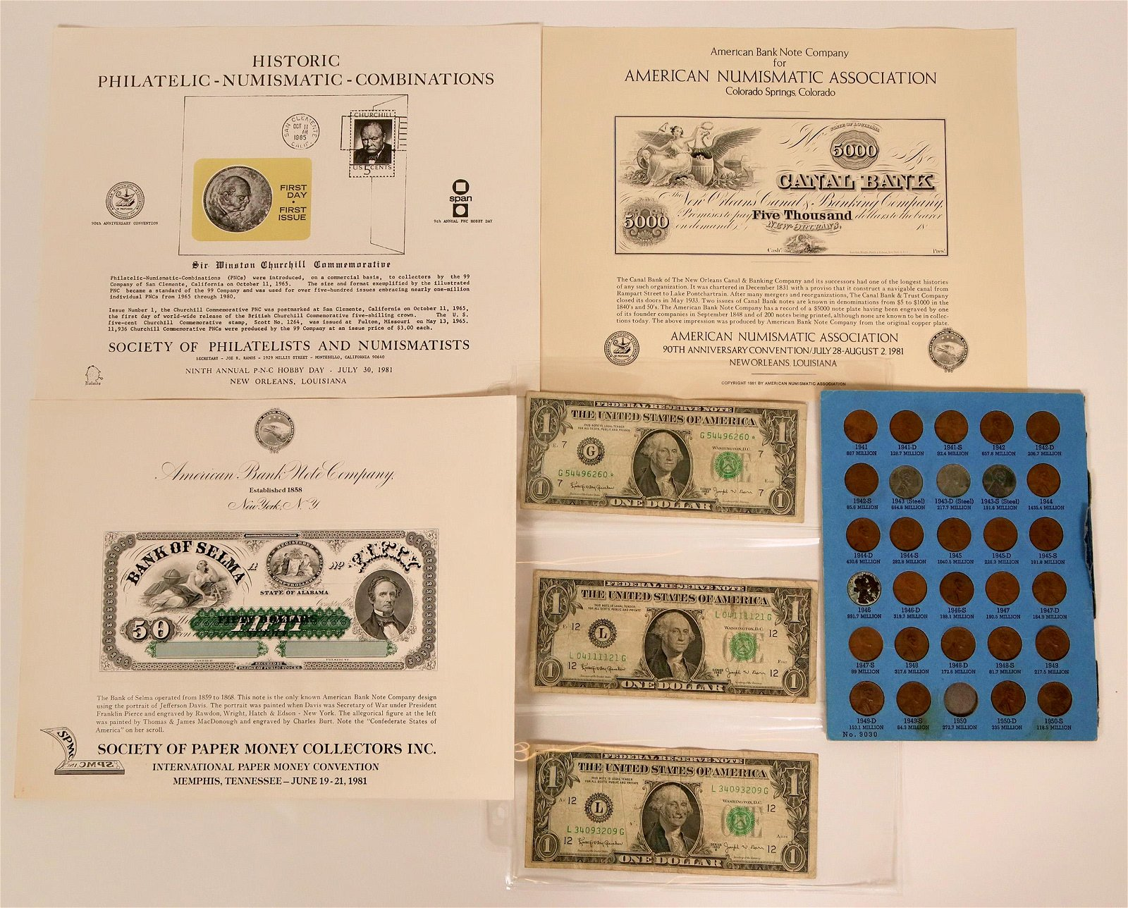 Collection of Numismatic Items 1940's Lincoln Head,