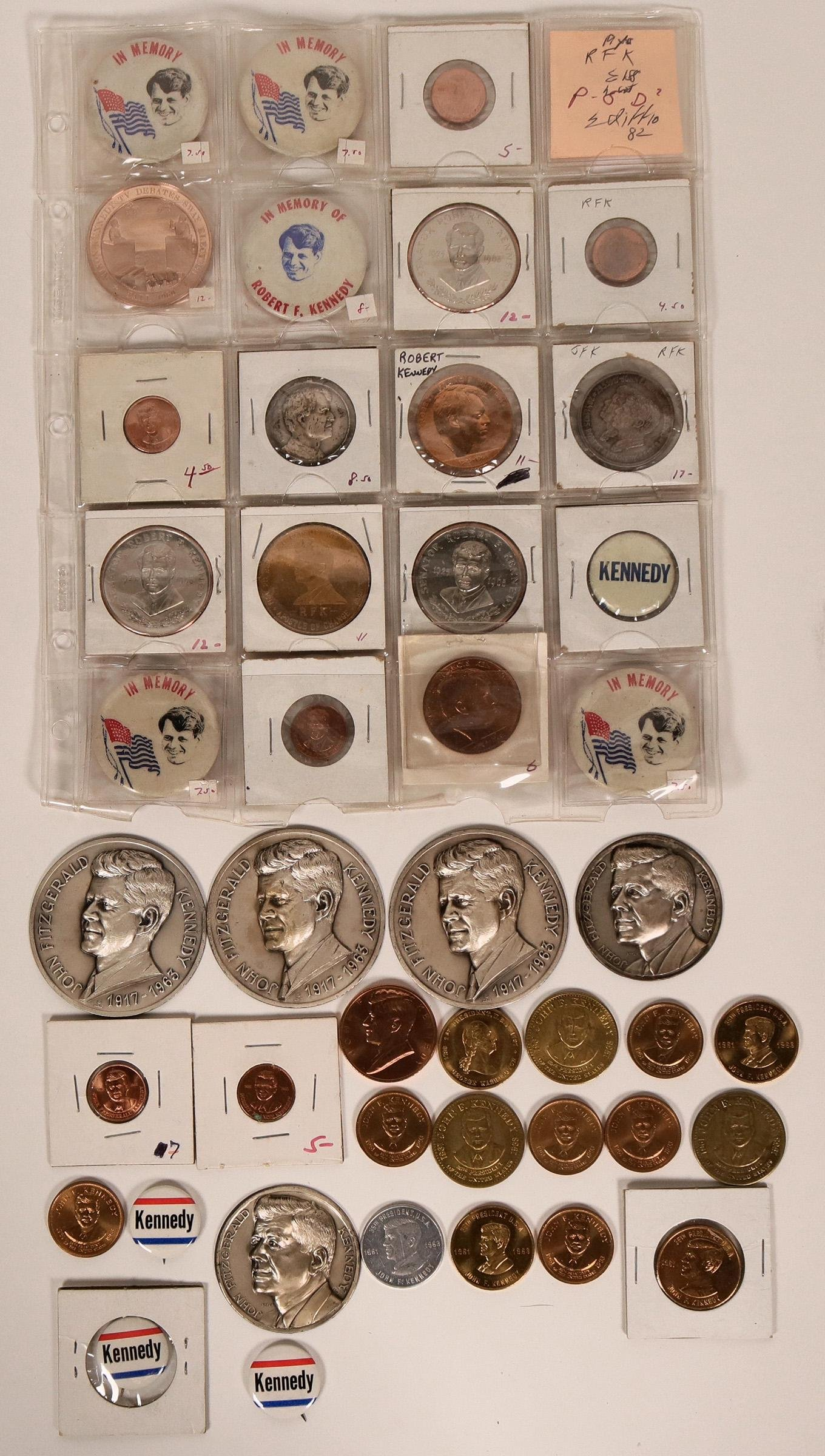 Kennedy Campaign Buttons &  Coins  (119633)