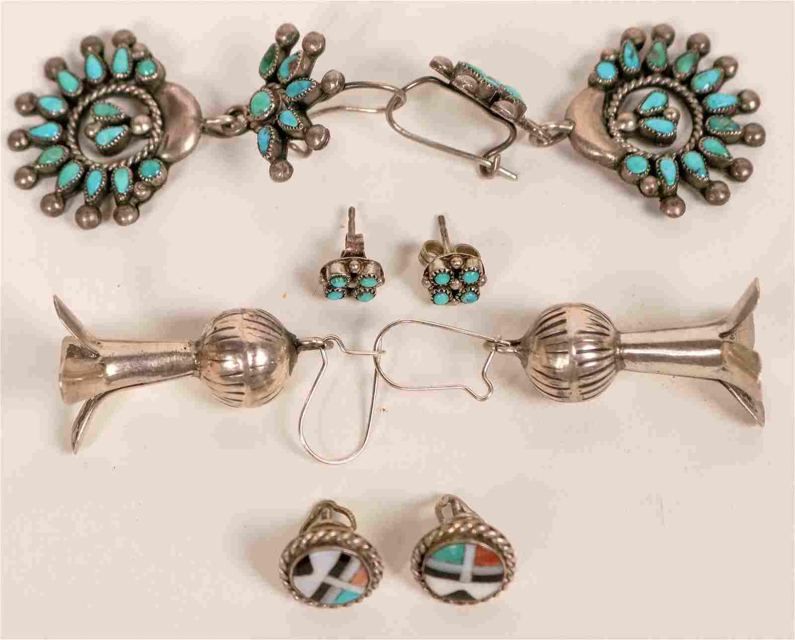 Vintage Zuni and Navajo Earrings  (121193)