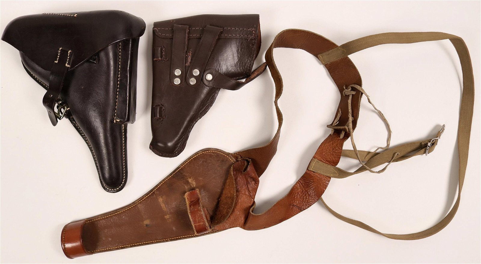 Vintage Leather Pistol Holster Group of 3, with Rare