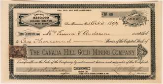 Canada Hill Gold Mining Co Stock Placer County Cal