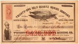 TwentyOne Gold Quartz Mining Company Stock Certificate