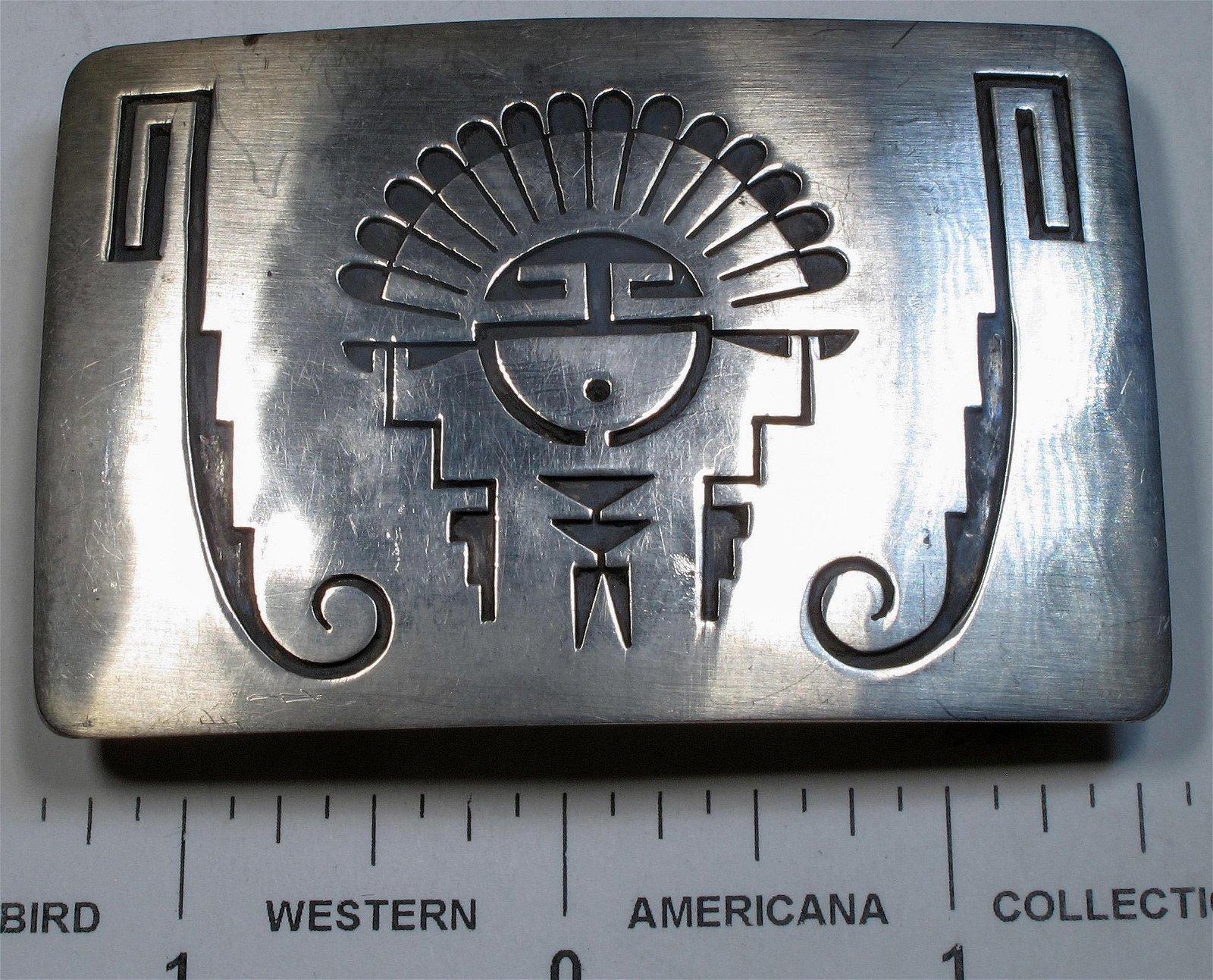 Vintage Native American Hopi Sunface Belt Buckle