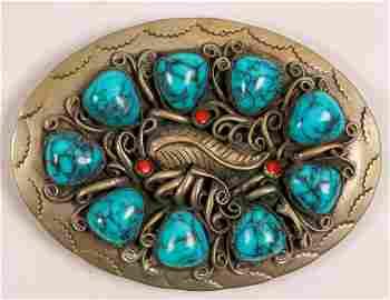 Turquoise Navajo Belt Buckle  (108135)