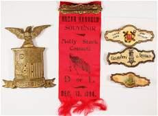 Fraternal Badges and Ribbon  5 pcs  125855