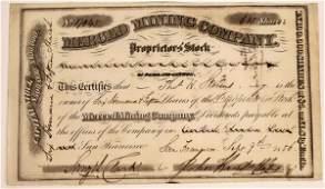 Extra Rare Merced Mining Company, Proprietor's Stock,