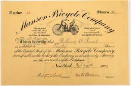 Manson Bicycle Company Stock Certificate - Early