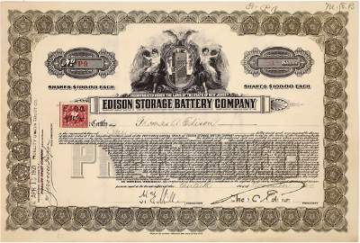 Edison Storage Battery Co. Stock Issued to and Signed