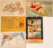 Five ONeill Pre Kewpie Art Cards Two Signed  118677