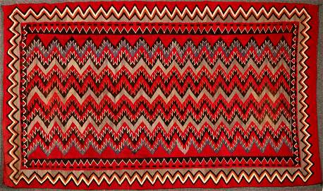 Navajo Red Mesa Native American Rug - 5 ft x 8.5 ft -