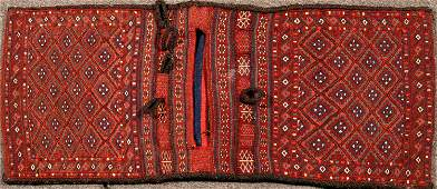 TurkishAfghan  Double Sided Wool Woven Saddle Bag