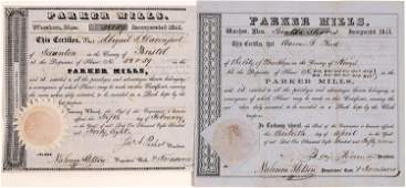 Parker (Iron) Mills Stock Certificates from 1848 &
