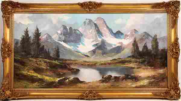 Snowy Mountain Lake Landscape Oil Painting Signed L.