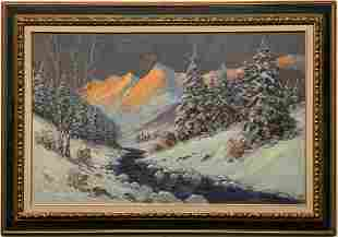 Winter Mountain Sunrise Painting by Helio Wernegreen