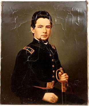 Civil War Soldier Portrait, Enlarged, Enhanced Painted