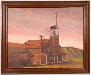 Old Schoolhouse Painting Signed By R. L. Burch