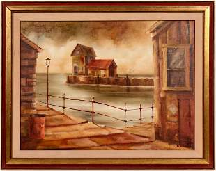 On The Dock, Oil Painting by Robert H. Blair [104924]