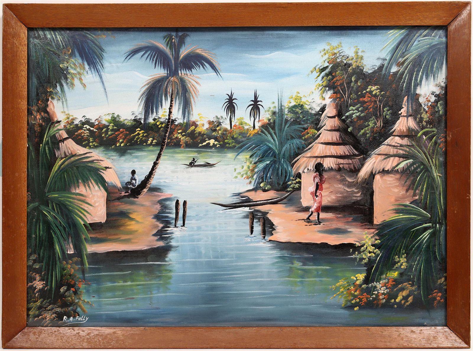 Original African Artwork Signed by Artist (2 oil