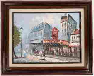 Paris Street Scene, Moulin Rouge Oil Painting, Signed