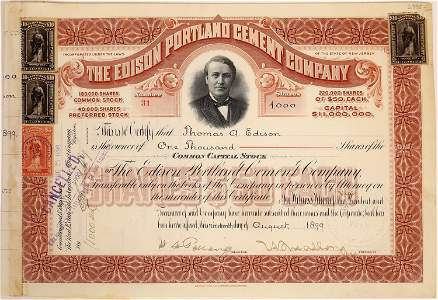 Edison Portland Cement Co. Stock Issued to & Signed