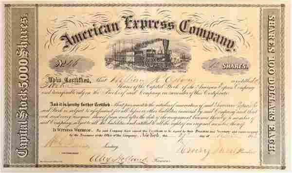 Earliest Known American Express Stock Certificate, #46
